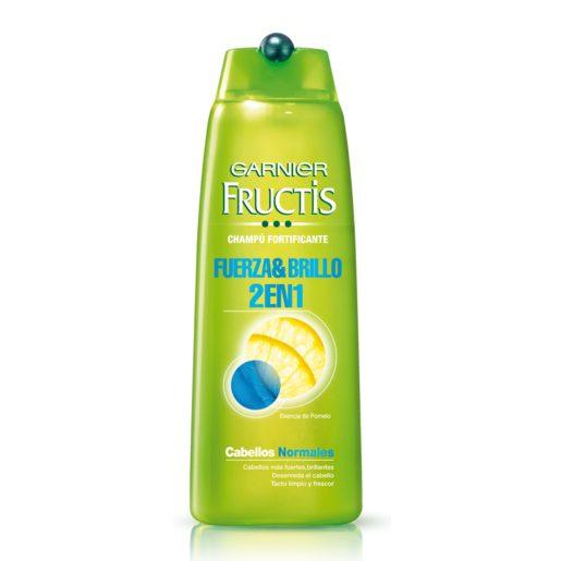 FRUCTIS champú 2 en 1 Fuerza & Brillo para cabello normal frasco 300 ml