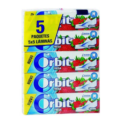 ORBIT chicle láminas sabor fresa paquete 5 uds
