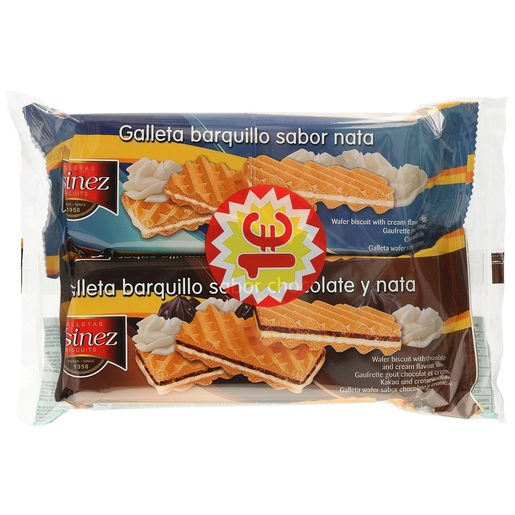 ASINEZ barquillo relleno de nata pack 2 x 135 gr