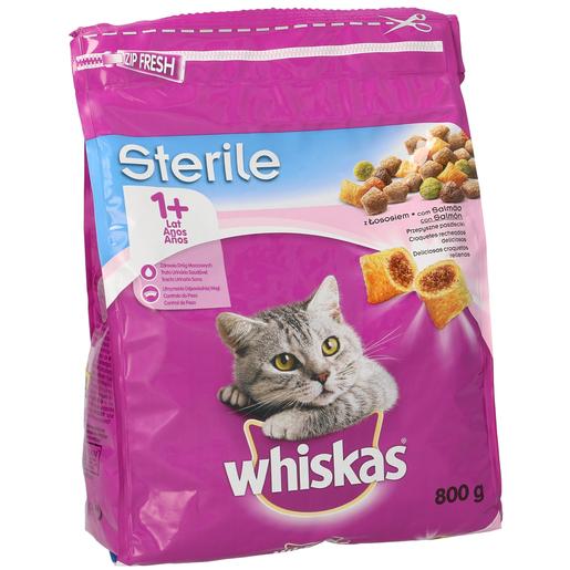 WHISKAS alimento para gatos esterilizados con salmón bolsa 800 gr