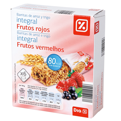 DIA barritas cereales integral frutos rojos caja 6 uds 129 gr