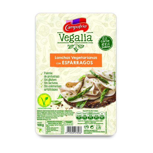 CAMPOFRÍO Vegalia lonchas vegetarianas con espárragos sobre 100 gr