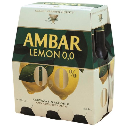 AMBAR cerveza sabor limón 0,0% alcohol pack 6 botellas 25 cl