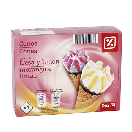 DIA helado cono fresa y limón pack 4 uds