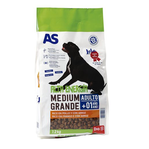 AS alimento para perros alta energía rico en pollo con arroz bolsa 12 Kg