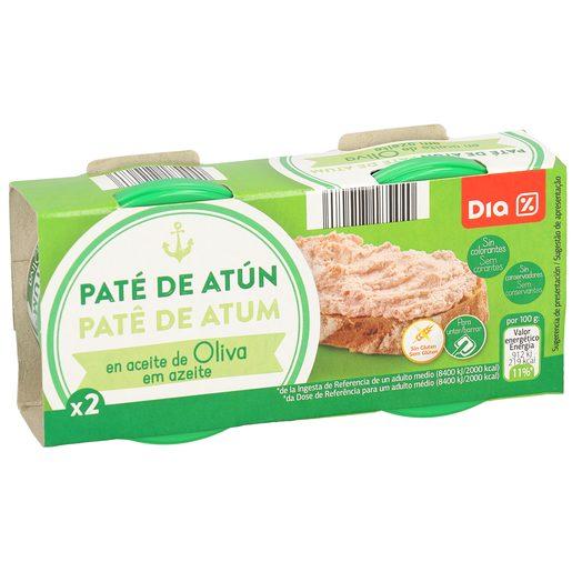 DIA paté de atún en aceite de oliva pack 2 latas 80 gr