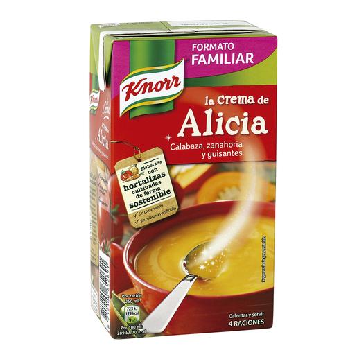 KNORR la crema de alicia calabaza zanahoria y guisantes envase 1 lt