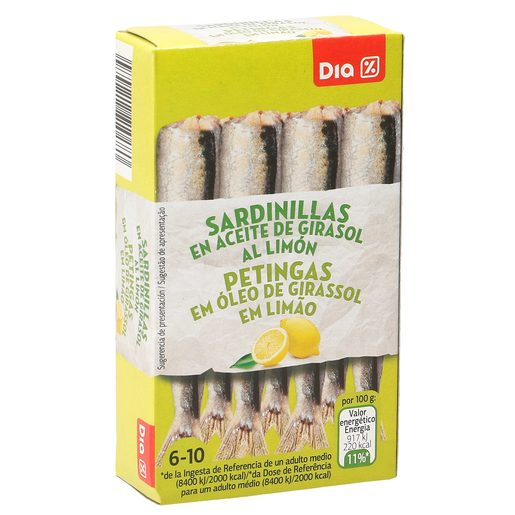DIA sardinillas en aceite de girasol al limón 6/10 piezas lata 62 gr
