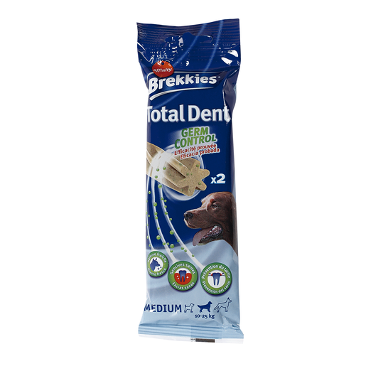 BREKKIES snack para perros medianos total dent bolsa 52 gr
