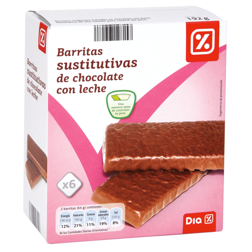 DIA barritas sustitutivas crujientes de chocolate con leche estuche 210 gr