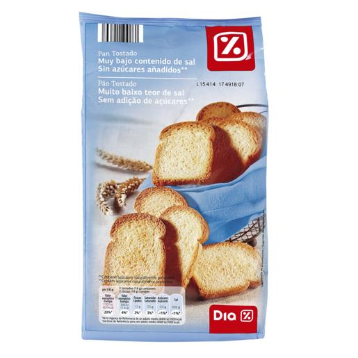DIA VITAL pan tostado bajo en sal sin azúcares añadidos paquete 270 gr