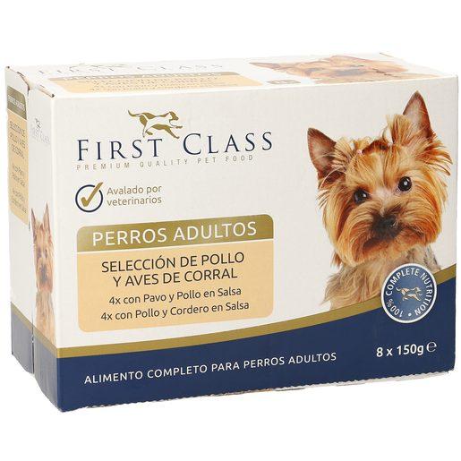 FIRST CLASS alimento para perros adultos selección de pollo y aves caja 8 x 150 gr
