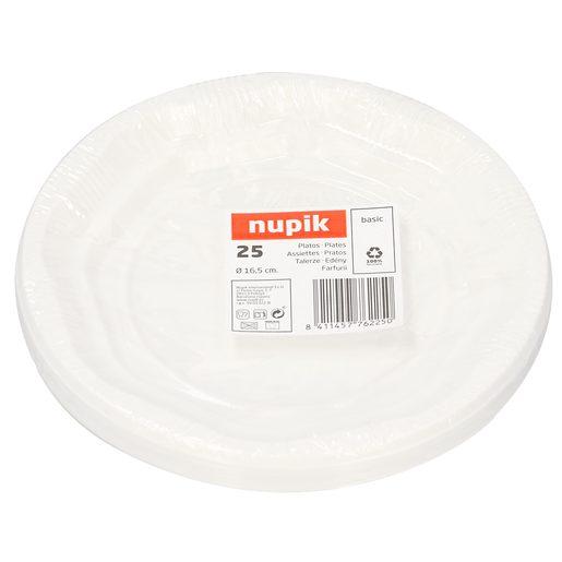 NUPIK platos blancos desechables de 16.5 cm  bolsa 25 uds