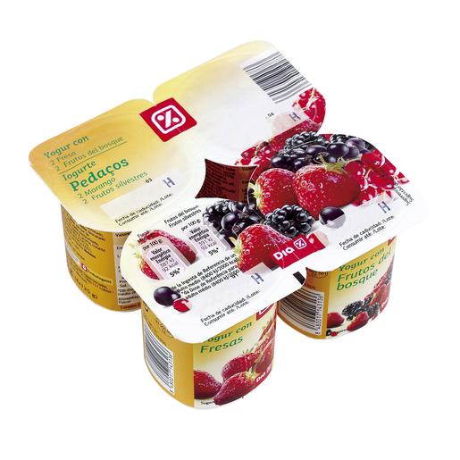 DIA yogur fresa/frutos del bosque pack 4 unidades 125 gr