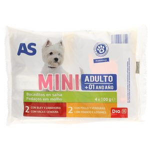 AS bocaditos en salsa para perros mini multipack bolsa 4 x 100 gr