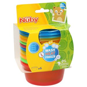 NUBY 6 recipientes con tapa 300 ml