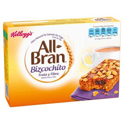 KELLOGS barritas de bizcochitos de cereales con fruta y fibra estuche 240 g