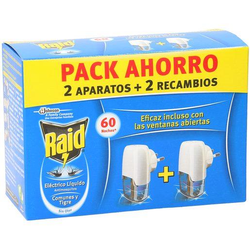 RAID insecticida eléctrico antimosquitos 2 aparatos + 2 recambio