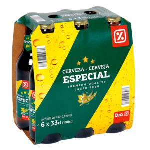 DIA cerveza especial pack 6 botellas 33 cl