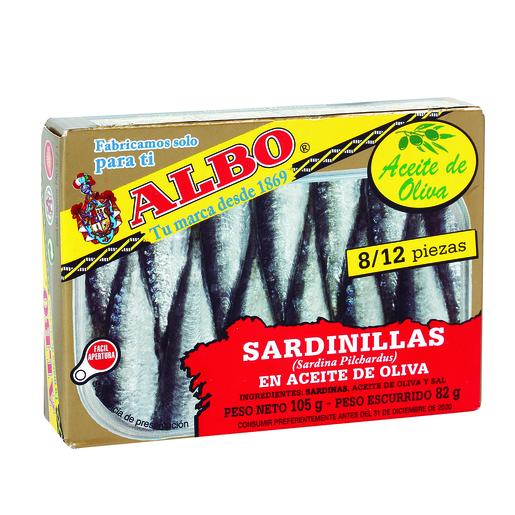 ALBO sardinillas en aceite de oliva 8/12 piezas lata 82 gr