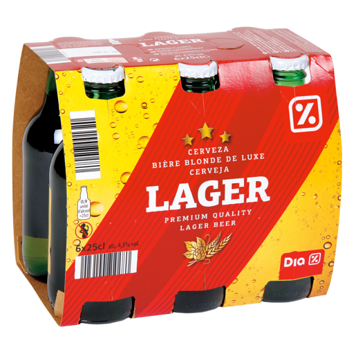 DIA cerveza lager pack 6 botellas 25 cl