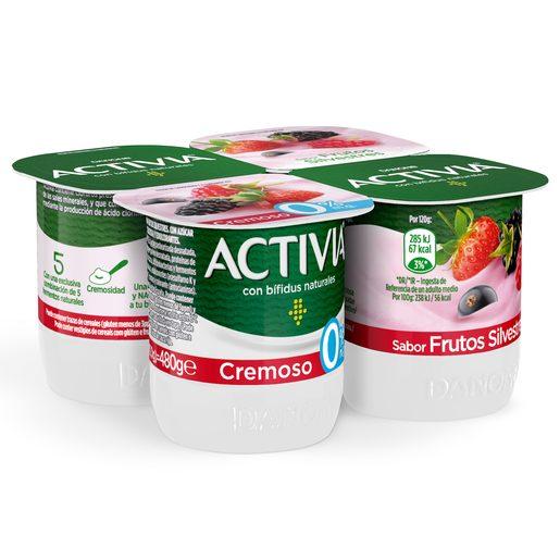 DANONE ACTIVIA bífidus cremoso de frutas silvestres 0% pack 4 unidades 120 gr