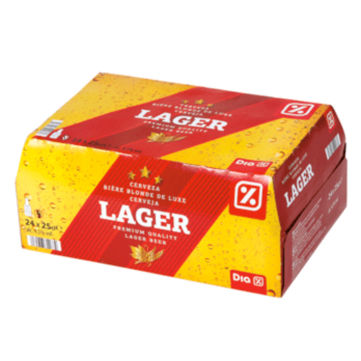 DIA cerveza rubia lager pack 24 botellas 25 cl