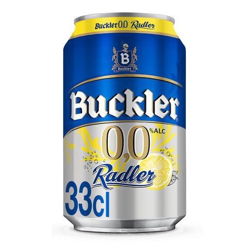 BUCKLER Radler cerveza sabor limón 0,0% alcohol lata 33 cl