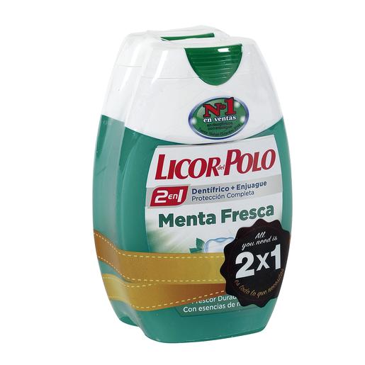 LICOR DEL POLO pasta dentífrica 2 en 1 menta fresca bote 2 x 75 ml
