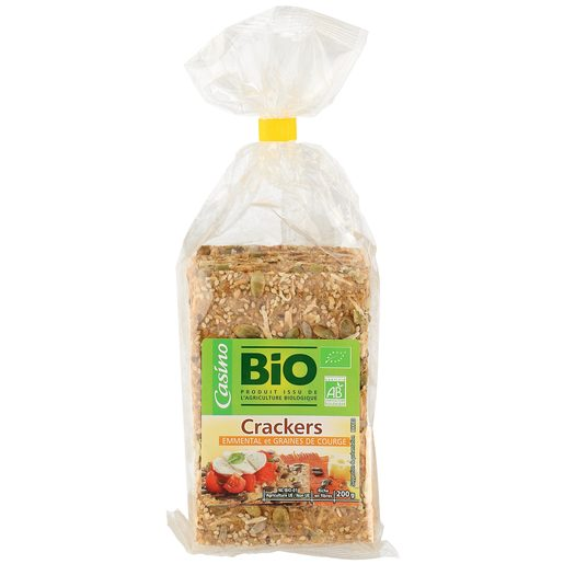 CASINO BIO galletas crackers con queso y pipas de calabaza bolsa 200 gr