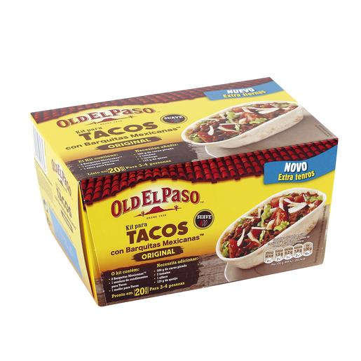 OLD EL PASO kit para tacos con barquitas oriiginal caja 345 gr