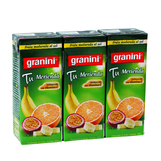 GRANINI néctar naranja, plátano y maracuya pack 3 unidades 200 ml