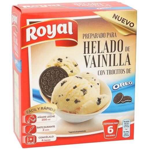 ROYAL preparado para helado de vainilla con trocitos de oreo caja 175 gr