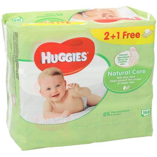 HUGGIES Natural care toallitas para bebés pack 168 uds