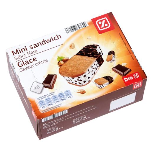 DIA mini sandwich sabor nata glace con trozos de chocolate caja 6 ud 312gr