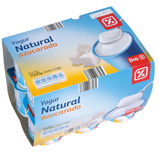 DIA yogur natural azucarado pack 12 unidades 125 g