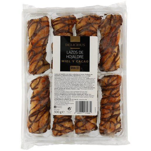 DIA DELICIOUS lazos de hojaldre con miel y cacao estuche 300 gr