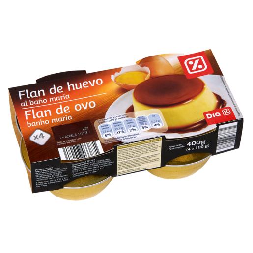 DIA flan de huevo pack 4 unidades 100 gr
