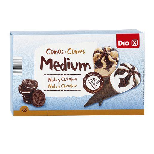 DIA helado cono mediano nata y chocolate caja 8 uds 280 gr