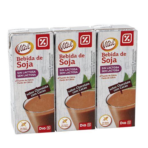 DIA VITAL bebida de soja con chocolate pack 3 unidades 200 ml