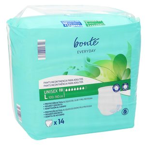 BONTE pants de incontinencia para adultos talla L unisex paquete 14 uds