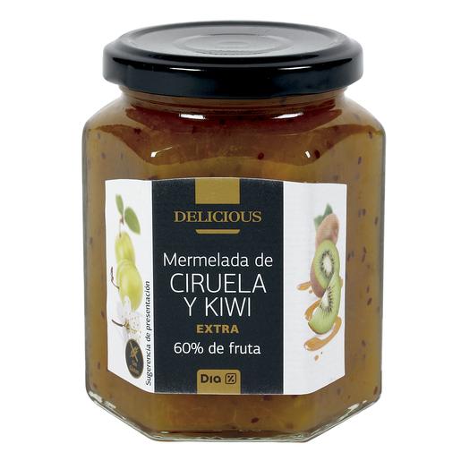 DIA DELICIOUS mermelada de ciruela y kiwi extra 60% fruta frasco 320 gr