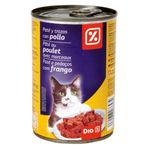 DIA paté para gatos con trozos de pollo lata 400 gr