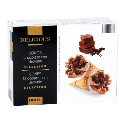 DIA DELICIOUS helado cono chocolate brownie caja 276 gr