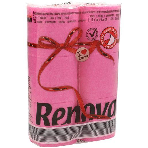 RENOVA papel higiénico rosa 2 capas paquete 6 uds