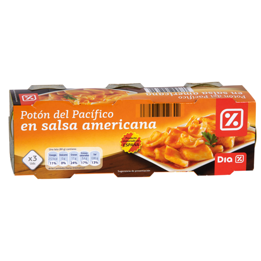 DIA poton en salsa americana pack de 3 latas 55 gr