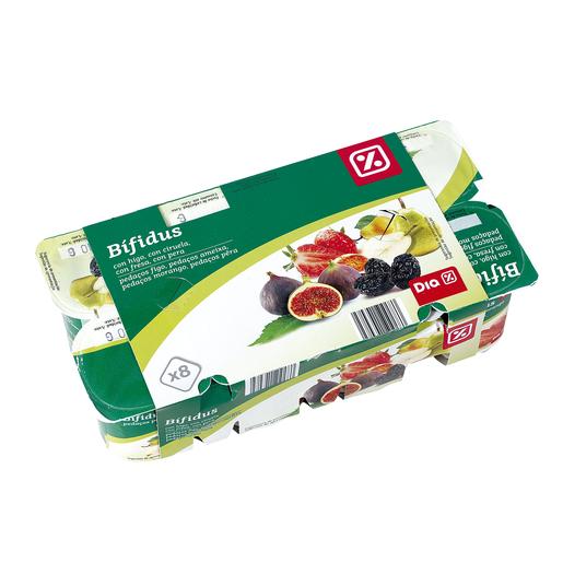 DIA yogur bífidus higo pera y ciruela panache pack 8 unidades 125 gr