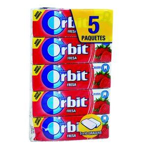 ORBIT chicle grageas sabor fresa paquete 5 uds