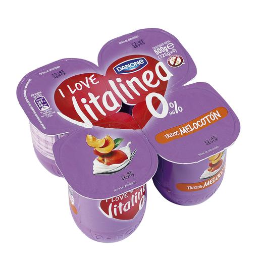 DANONE VITALINEA yogur con trozos melocotón pack 4 unidades 125 gr