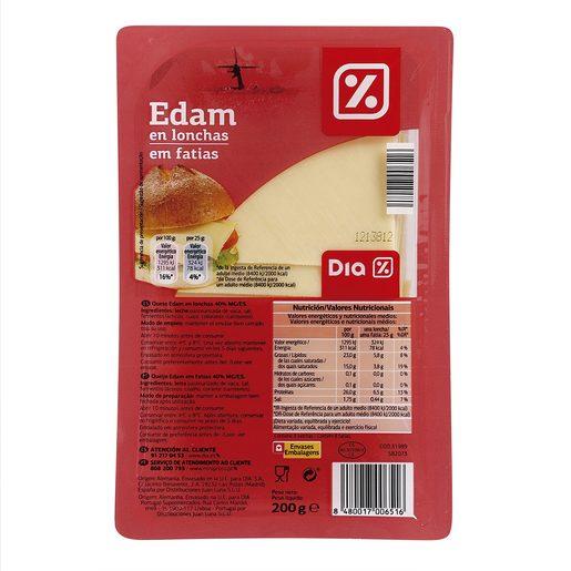 DIA queso edam en lonchas envase 200 gr
